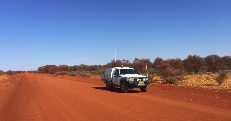 Double R Work Ute on Red Soil and Blue sky in Leinster Western Australia